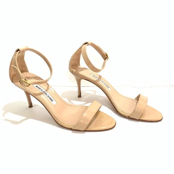 b2bad4b67c960 Manolo Blahnik Shoes | Chaos Nude Patent Leather Sandals | Poshmark
